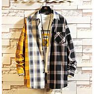 Муж. Большие размеры - Рубашка Классический Шахматка Черный XXL / Длинный рукав
