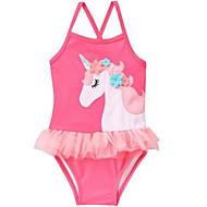 Toddler Dívčí Plážové Jednobarevné / Geometrický Bez rukávů Polyester Plavky Světlá růžová