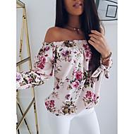 Naisten Olkaimeton Painettu Kukka Katutyyli T-paita Punastuvan vaaleanpunainen XL