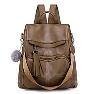 cheap School Bags-Women's Bags PU(Polyurethane) Backpack Zipper Solid Color Brown / Black