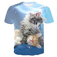 男性用 プリント Tシャツ ベーシック / ストリートファッション ラウンドネック カラーブロック / 動物 猫 ライトブルー XXXL / 半袖