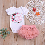 Bebek Genç Kız Actif / Temel Desen Desen Kısa Kollu Normal Normal Pamuklu Kıyafet Seti Beyaz