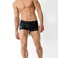 أسود XL XXL XXXL لون سادة, ملابس السباحة قطع تحتية قطعة واحدة أسود أزرق البحرية مقاس أوروبي / أمريكي رجالي