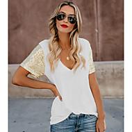 Damen Solide T-shirt, V-Ausschnitt Schlank Weiß L