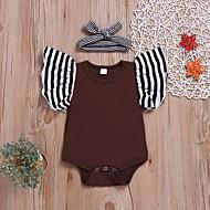 Baby Jente Aktiv / Gatemote Stripet Elegant Kort Erme Bomull Body Brun