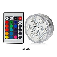 1pc 10leds RGB Led Underwater Light Pond Submersible Waterproof Swimming Pool Light Battery Operated for Wedding Party