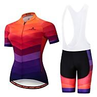 Miloto Women's Short Sleeve Cycling Jersey with Bib Shorts - Orange+White Black / Orange Bike Padded Shorts / Chamois Clothing Suit Breathable 3D Pad Reflective Strips Sports Lycra Multi Color