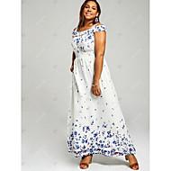 فستان نسائي قياس كبير طباعة طويل للأرض هندسي خصر عالي دون الكتف