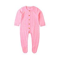 Bebek Genç Kız Temel Solid Şalter / Örgülü / Temel Uzun Kollu Polyester Tek Parça Bej
