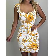 Mulheres Básico Evasê Vestido - Estampado, Floral Geométrica Mini