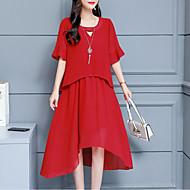 Mujer Sofisticado Elegante Gasa Vestido - Plisado, Un Color Midi