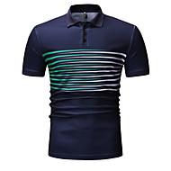 남성용 줄무늬 셔츠 카라 Polo 블랙 XL