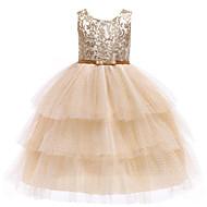 아동 / 토들러 여아 활동적 / 단 컬러 블럭 레이스 / 스팽글 / 멀티 레이어 민소매 맥시 면 / 폴리에스테르 드레스 골드