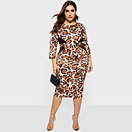 Damen Elegant Hülle Kleid - Druck, Leopard Knielang