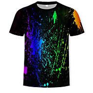 Hombre Estampado - Algodón Camiseta, Escote Redondo Arco iris Negro XL