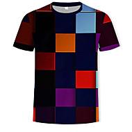 Pánské - Geometrický / Barevné bloky / 3D Tričko, Tisk Bavlna Kulatý Duhová XL