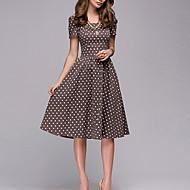 Basic Swing Dress - Women's Polka Dot Print Brown L XL XXL