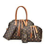 女性用 バッグ PU バッグセット 4個の財布セット ジッパー 幾何学模様 ブラック / ルビーレッド / Brown