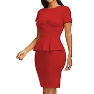 2019 New Arrival Dresses Women's Basic Bodycon Sheath Dress Elbise Vestidos Robe Femme - Solid Colored Black Red Yellow XXXL XXXXL XXXXXL
