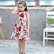 Gyerekek Lány Alap Virágos Nyomtatott Ujjatlan Térdig érő Poliészter Ruha Fehér