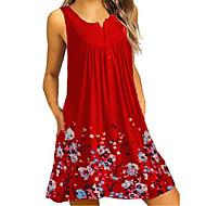 Women's Basic Tunic Dress - Floral Black Red Purple XXL XXXL XXXXL