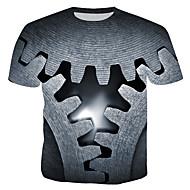 Tee-shirt Homme, Bloc de Couleur / 3D - Coton Imprimé Col Arrondi Gris XL