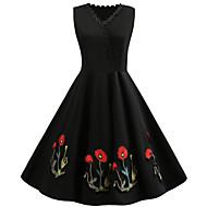 Dame Vintage Lille Sort Swing Kjole - Ensfarvet Blomstret Houndstooth mønster, Trykt mønster Over knæet