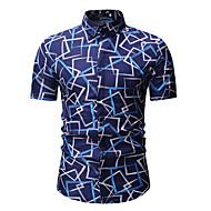 Pánské - Geometrický Košile, Tisk Klasický límeček Vodní modrá XL / Krátký rukáv