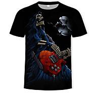 Hombre Estampado - Algodón Camiseta, Escote Redondo Cráneos Negro US36