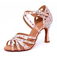 baratos -Mulheres Cetim Sapatos de Dança Latina Pedrarias / Presilha Sandália / Salto Salto Carretel Personalizável Nú / Espetáculo
