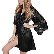 Жен. Большие размеры Супер секси Халат / Шёлк и сатин Ночное белье - Кружева Однотонный Пурпурный Винный Тёмно-синий XL XXL XXXL