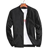 Erkek Günlük Normal Ceketler, Solid Yuvarlak Yaka Uzun Kollu Polyester Gri / Şarap / Ordu Yeşili XXXL / XXXXL / XXXXXL