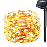 10m Fâșii de Iluminat 100 LED-uri Alb Cald Decorativ Λειτουργεί με Ηλιακή Ενέργεια 1set