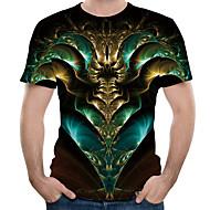 Rund hals EU / USA størrelse T-skjorte Herre - 3D, Trykt mønster Grønn