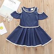 Enfants Fille Le style mignon Couleur Pleine Manches Courtes Robe Bleu