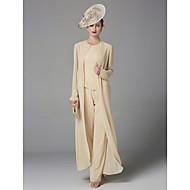 رخيصةأون -Pantsuit جوهرة طول الأرض شيفون فستان أم العروس مع حصى بواسطة LAN TING BRIDE® / نعم / يشمل الشالة