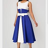 levne -dámské midi swing šaty červené černé modré s m l xl