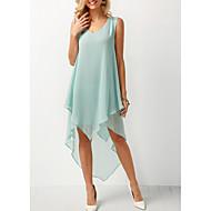 cheap -Women's Asymmetrical A Line Sundress Ruffle Fashion Deep V Spring Black Blushing Pink Light Green XXXL XXXXL XXXXXL