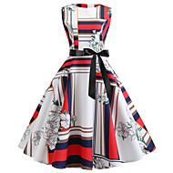 Mujer Vintage Vaina Vestido - Estampado, Geométrico Hasta la Rodilla