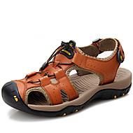 Men's Comfort Shoes Cowhide Fall / Spring & Summer Vintage / Casual Sandals Breathable Black / Brown / Blue