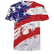 저렴한 -남성용 컬러 블럭 라운드 넥 슬림 유럽 / 미국 사이즈 프린트 - 티셔츠 레인보우 XL / 여름