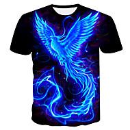 저렴한 -남성용 컬러 블럭 라운드 넥 플러스 사이즈 티셔츠 네이비 블루 XXL