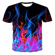 저렴한 -남성용 3D 라운드 넥 프린트 - 티셔츠 블랙 US42