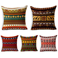 5 PC Algodón / Lino Cobertor de Cojín, Diseño Especial Obra Artística Barroco Boho Arrojar la almohada