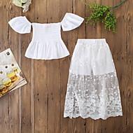 סט של בגדים שרוולים קצרים פרחוני בנות ילדים / פעוטות
