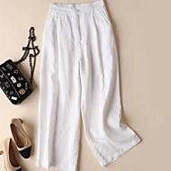 Dámské Základní Široké nohavice Kalhoty - Jednobarevné Bílá