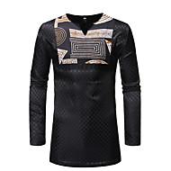 Herre - Tribal Patchwork / Trykt mønster Skjorte Sort L
