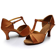 cheap -Women's Dance Shoes Satin Latin Shoes / Salsa Shoes Sandal Customized Heel Customizable Brown / Indoor / Leather / EU40