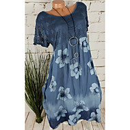 Women's Plus Size Casual Shift Dress - Floral Tie Dye Print Light Blue Blushing Pink Army Green S M L XL