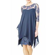 저렴한 -여성용 플러스 사이즈 데이트 슬림 칼집 쉬폰 드레스 - 솔리드, 레이스 무릎 위